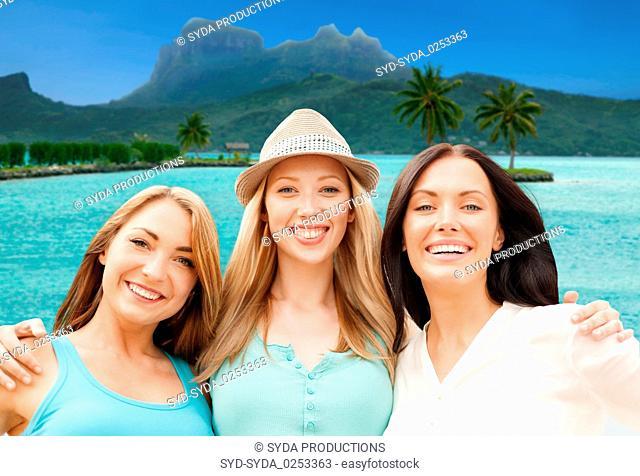 happy women over bora bora background