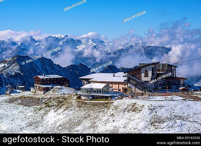 Edmund-Probst-Haus and station Höfatsblick, mountain station at Nebelhorn, 2224m, Allgäu Alps, Allgäu, Bavaria, Germany, Europe