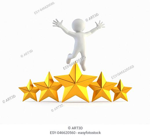 3d small people - superstar, Isolated white background
