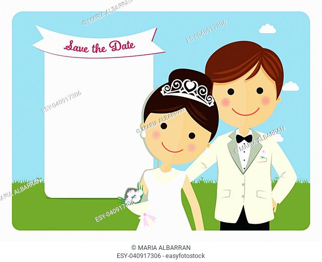 Princely style couple foreground for wedding invitation on blue background