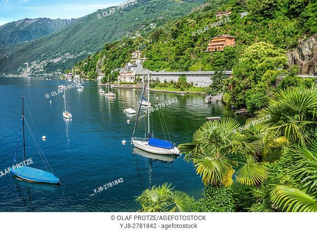 Scenic seascape at Lago Maggiore near Ascona, Ticino, Switzerland