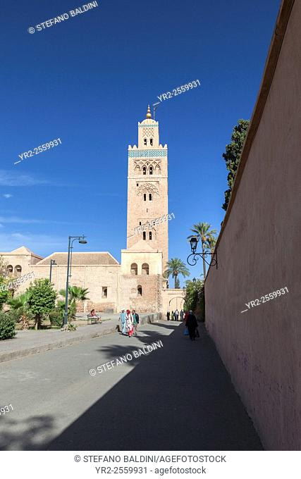 The minaret of Koutoubia mosque in Marrakech, Morocco