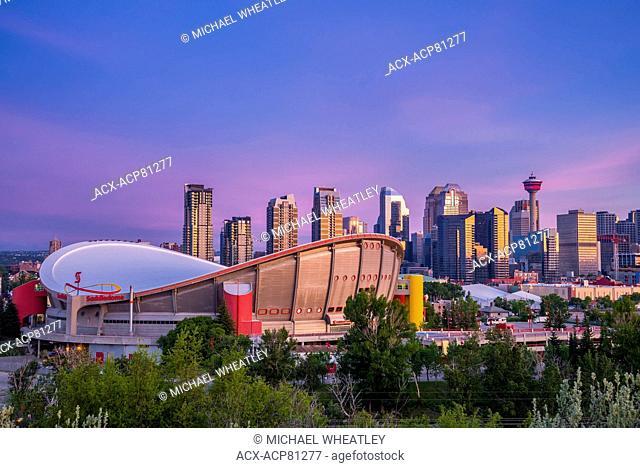 The Saddledome and Calgary skyline, Calgary, Alberta, Canada