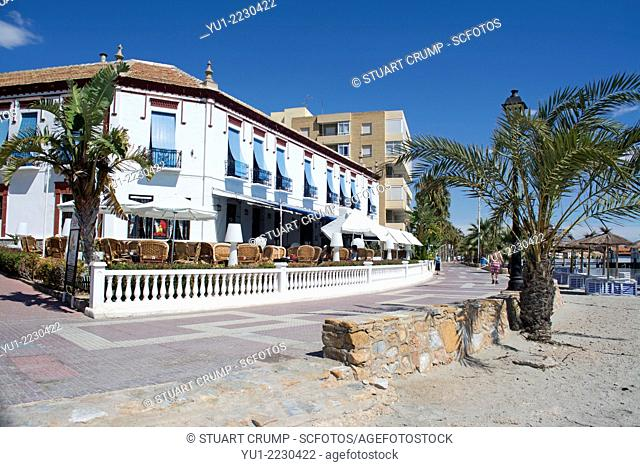 Los Alcazares beach and the Mar Menor, Murcia, Costa Calida, South Eastern SpainTraditional Spanish Tapas Bar and Restaurant in Los Alcazares on the Costa...