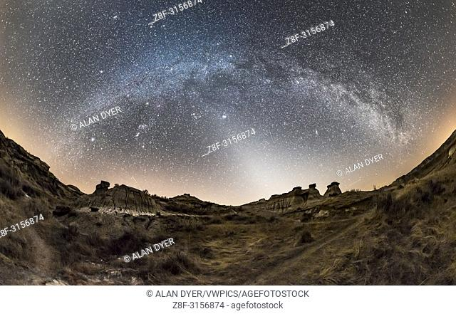 A 200+ degree panorama of the arch of the winter Milky Way, from south (left) to northwest (ar right) with the Zodiacal Light to the west at centre