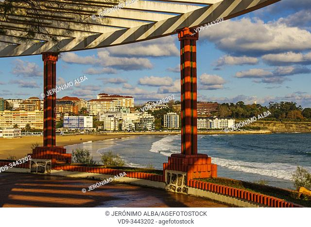 Panoramic view of Sardinero beach on a winter day from Piquio garden, Cantabrian Sea Santander. Cantabria Spain. Europe