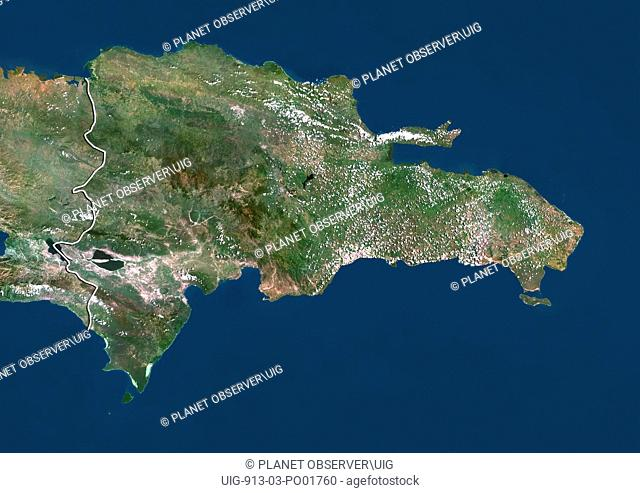 Satellite view of Dominican Republic with border. This image was compiled from data acquired by LANDSAT 5 & 7 satellites