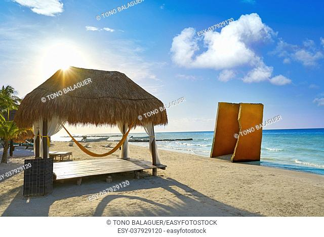 Holbox tropical Island beach gazebo in Quintana Roo of Mexico