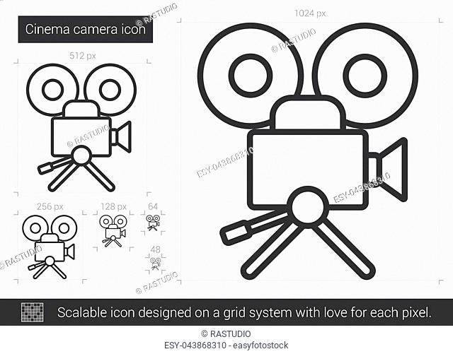 Cinema camera vector line icon isolated on white background. Cinema camera line icon for infographic, website or app. Scalable icon designed on a grid system