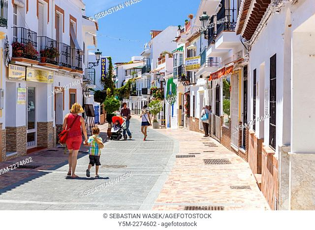 Street in Nerja, Costa del Sol, Malaga Province, Andalusia, Spain, Europe