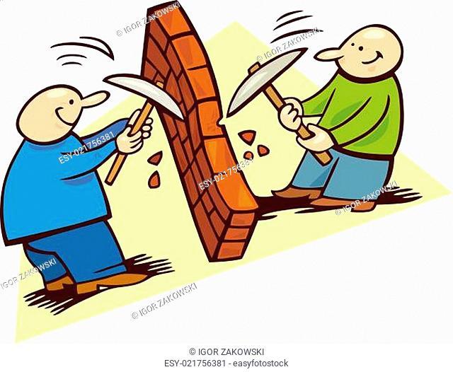 Men breaking the wall