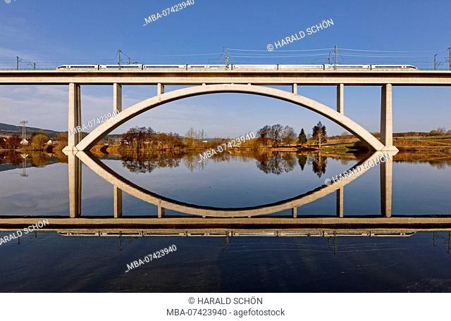 Train, bridge, lake, reflection