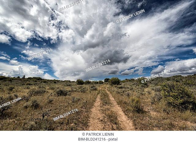 Remote dirt path under clouds