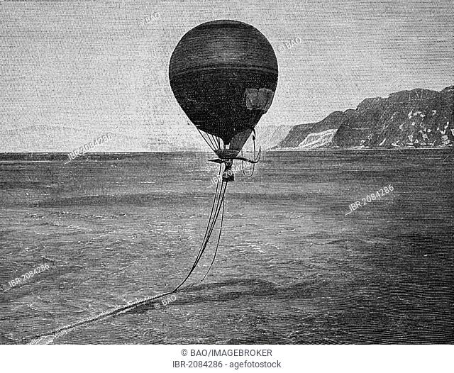 Swedish engineer and Arctic explorer Salomon Andree departs with Fraenkel and Strindberg in the hot air balloon Eagle from Spitsbergen to fly over the North...