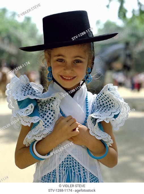 Costume, Entertainer, Europe, European, Girl, Hat, Holiday, Landmark, Outdoors, People, Seville, Seville fair, Spain, Europe, Sp