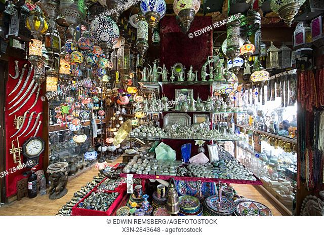 Muscat, Oman - Souq Muttrah Lamps and various other items for sale in market