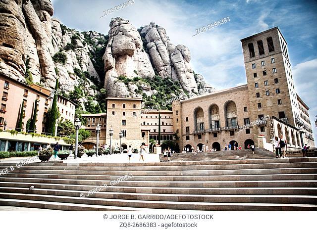 Montserrat monastery in spring. Barcelona, Catalonia