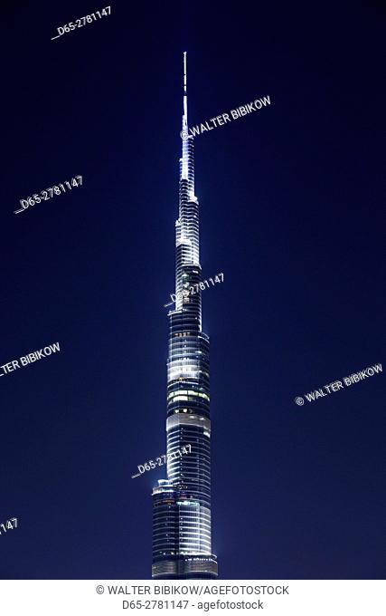 UAE, Dubai, Downtown Dubai, Burj Khalifa, world's tallest building as of 2016, elevated view, dusk