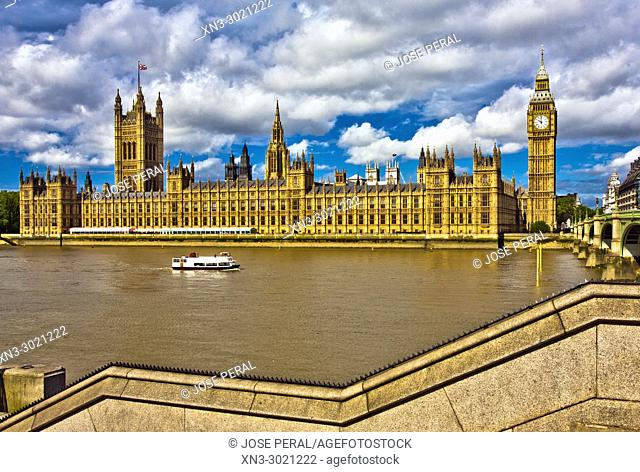 Elizabeth Tower, Big Ben, Clock tower, Houses of Parliament, Palace of Westminster, Westminster Bridge, City of Westminster, River Thames, London, England, UK