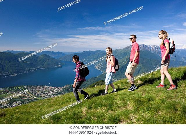 Switzerland, Europe, canton, TI, Ticino, Southern Switzerland, mountain, mountains, lake, walking, hiking, view, Locarno, Cardada, Cimetta, couple, man, woman