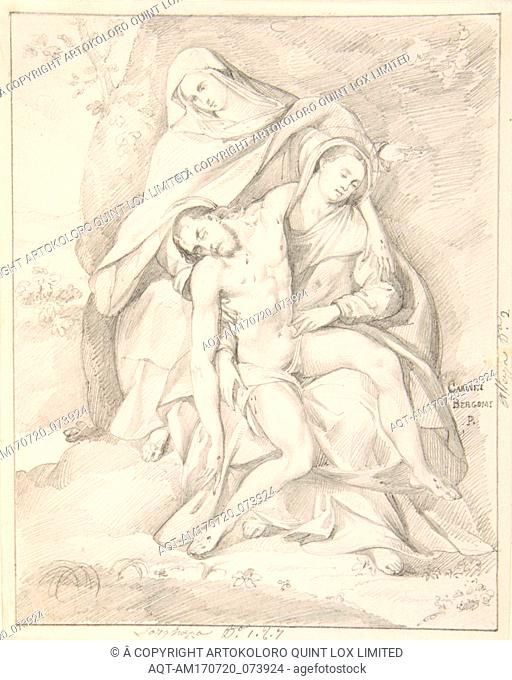 Pietà (after Giovanni Cariani), early to mid-19th century, Graphite. Framing line in graphite., sheet: 5 7/8 x 4 3/4 in. (14