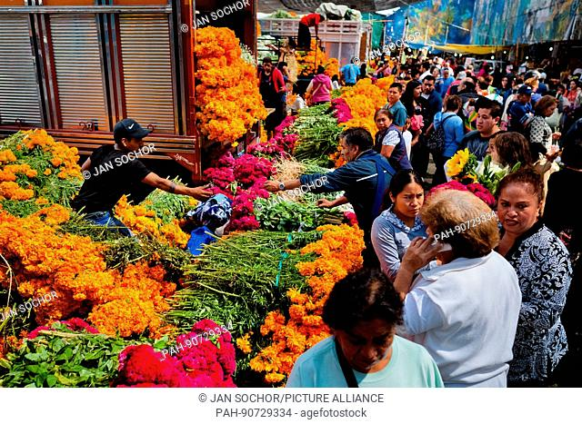 A Mexican flower market vendor sells bunches of marigold flowers (Flor de muertos) for Day of the Dead holiday in Mexico City, Mexico, 31 October 2016