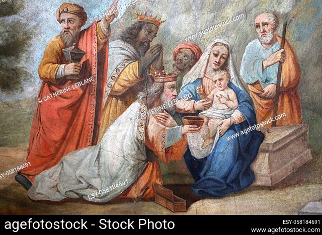 The Three Kings with the Virgin Mary and the infant Jesus Christ. Casimir Vicario (1803-1847). Seventeenth century. PaintingSaint Jacques collegiate church