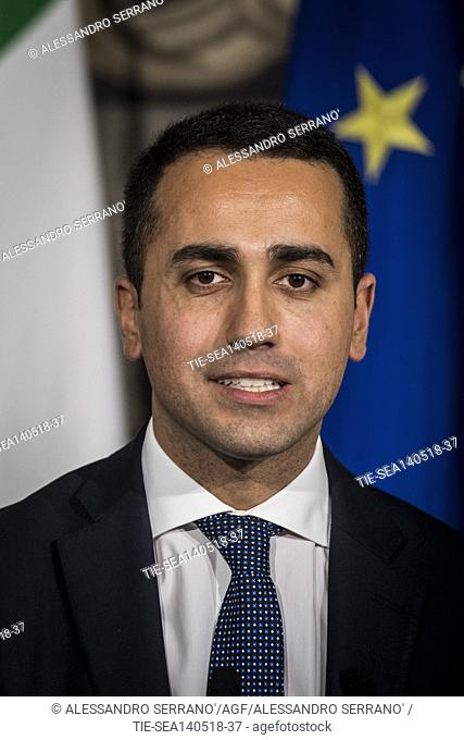 Leader of Five Star Movement Luigi Di Maio addresses the media after the meeting with Republic President at Quirinale Palace, Rome, ITALY-14-05-2018