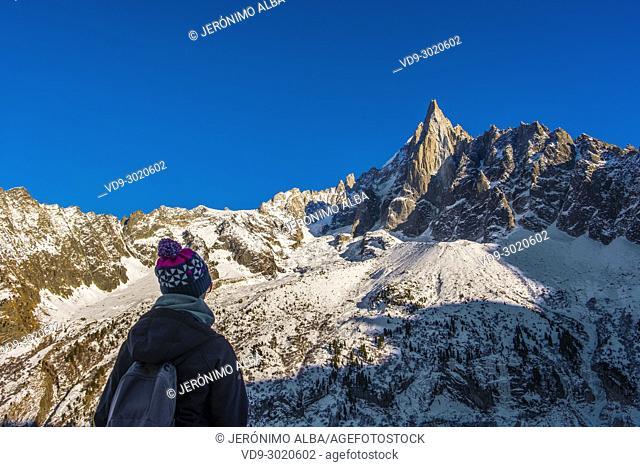 Nature mountain and snow. Chamonix Mont Blanc, Auvergne-Rhône-Alpes, department of Upper Savoy. France Europe