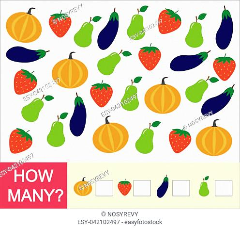 Count how many fruits, berries and vegetables (pear, strawberry, eggplant, pumpkin). Learning numbers, mathematics. Counting game for preschool children