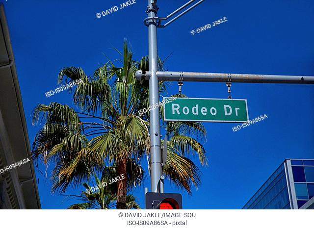 Rodeo Drive sign on traffic signal