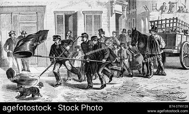 hunting of stray dogs in the streets of brussels, illustrious universe, publisher michel levy 1868