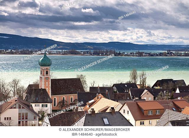 Allensbach with St. Nicholas church and Gnadensee lake, Allensbach, Reichenau, Landkreis Konstanz county, Baden-Wuerttemberg, Germany, Europe