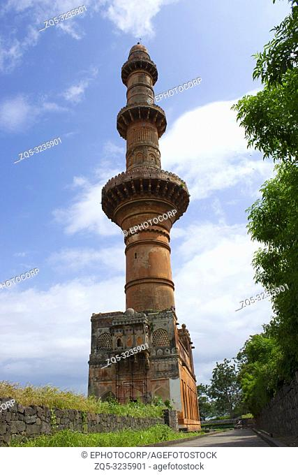 Chand Minar minaret facade at Daulatabad, Maharashtra, India