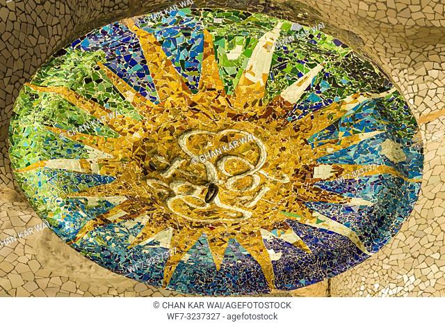 Barcelona - December 2018: Trencadís broken tile mosaics on the ceiling at Park Guell