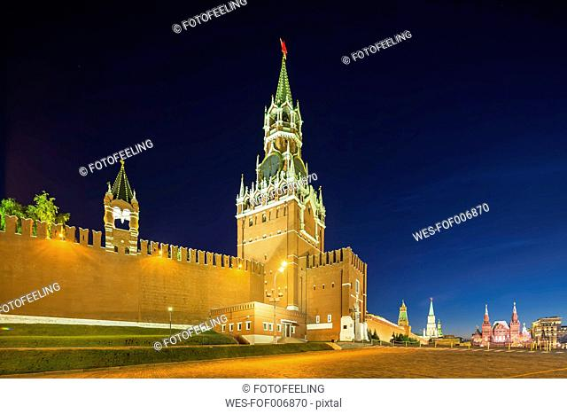 Russia, Moscow, view to Spasskaya Tower and Kremlin wall at Red Square by night