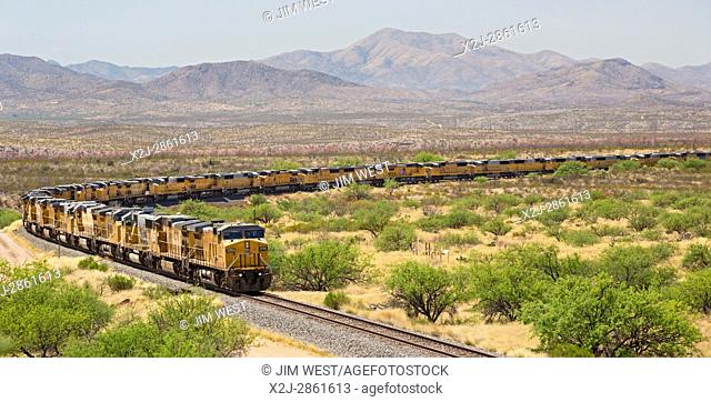 Benson, Arizona - Hundreds of unused Union Pacific locomotives are parked on a railroad siding in the Sonoran Desert