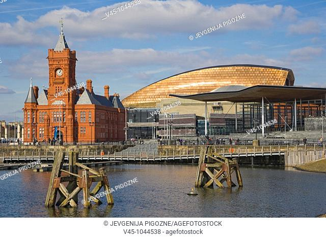 National Assembly for Wales complex: The Pierhead Building, The Senedd, Senate, and Wales Millennium Centre, Canolfan Mileniwm Cymru. Cardiff Bay