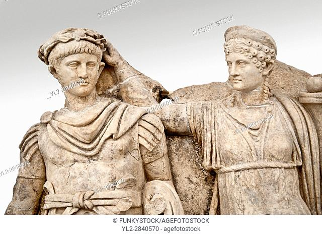 Roman temple releif sculpture of Tiberius being crowned by Andreia, Aphrodisias Museum, Aphrodisias, Turkey. The drapped goddess figure is thought to be...