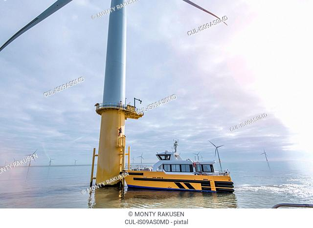 Service boat and wind turbine at offshore windfarm