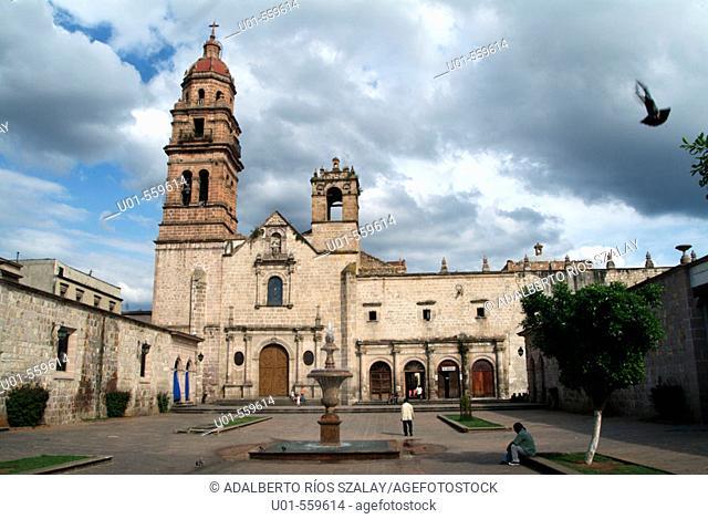 Church of San Agustin (16th century), Plateresque style facade. Morelia, Michoacan, Mexico