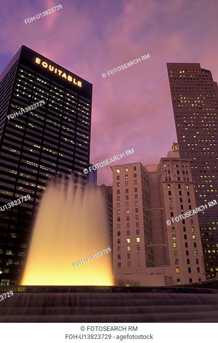 Atlanta, GA, Georgia, Downtown, high-rise buildings, Woodruff Park, fountain, evening