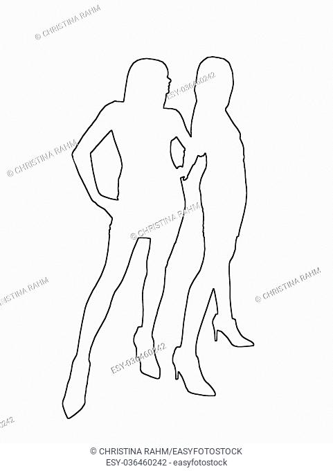 Silhouettes of two sexy girls black contours on white abstract background illustration