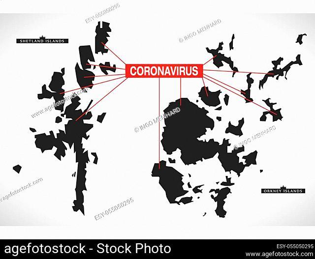 Northern Isles SCOTLAND UK region map with Coronavirus warning illustration