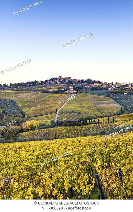 Panzano in Chianti, Florence, Tuscany, Italy. Panzano village at sunrise