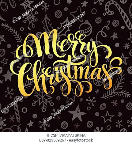 Gold Merry Christmas lettering in chalk seamless pattern