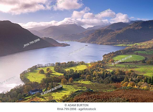 Ullswater from Gowbarrow Fell in autumn, Lake District National Park, Cumbria, England, United Kingdom, Europe