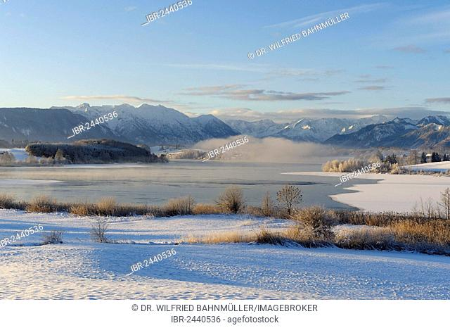 Winter landscape, Lake Riegsee in front of Estergebirge mountains, Wetterstein range and Ammergau Alps with Ettaler Mandl peak, Murnau, Pfaffenwinkel region