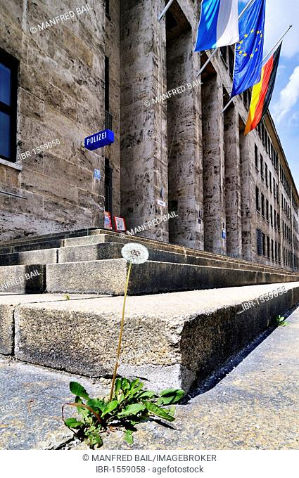Police station in the former McGraw Kaserne with a dandelion and flags, Harlaching, Munich, Bavaria, Germany, Europe