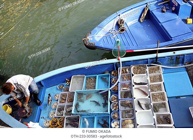 Seafood selling at the pier, Sai Kung, Hong Kong